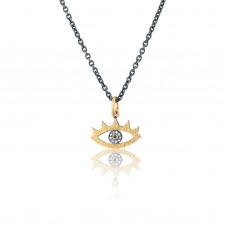 0,02 Carat Diamond / Code: KLİ24 09 / 24 Carat Gold Diamond and Silver Combination 100% Handcrafted Special Design Necklace