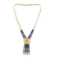 24K Gold Sapphire Combination 100% Handcrafted Special Design Necklace / Code : KL0000022
