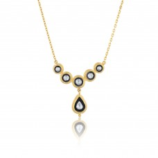 0,64 Carat Diamond / Code: KL0000046 / 24 Carat Gold Diamond and Silver Combination 100% Handcrafted Special Design Necklace