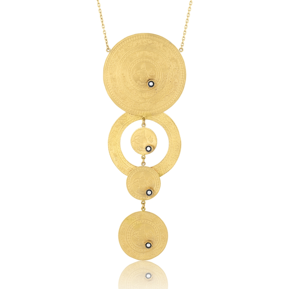 0.28 Carat Diamond / Code: KL0000047 / 24 Carat Gold Diamond and Silver Combination 100% Handcrafted Special Design Necklace