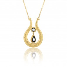 0.29 Carat Diamond / Code: KL0000062 / 24 Carat Gold Diamond and Silver Combination 100% Handcrafted Special Design Necklace