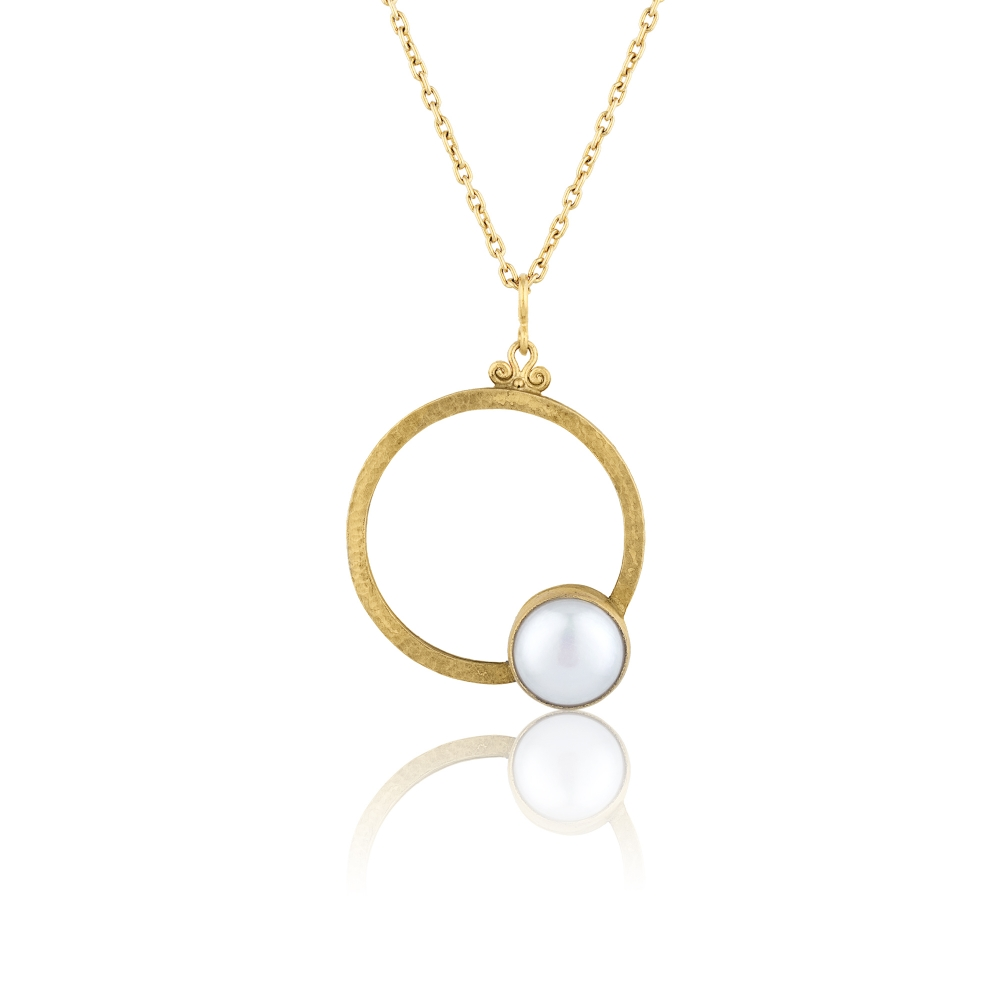 24 K Gold Silver and Pearl Combination 100% Handcrafted Special Design Necklace / Code : KL0000104