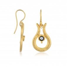 0,11 Carat Diamond / Code: KP0000023 / 24 Carat Gold Diamond and Silver Combination 100% Handcrafted Special Design Earring