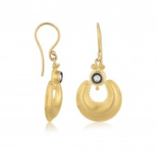 0,13 Carat Diamond / Code: KP0000024 / 24 Carat Gold Diamond and Silver Combination 100% Handcrafted Special Design Earring
