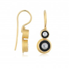 0.37 Carat Diamond / Code: KP0000025 / 24 Carat Gold Diamond and Silver Combination 100% Handcrafted Special Design Earring