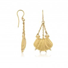 0,07 Carat Diamond / Code: SKP0000032 / 24 Carat Gold and Diamond Combination 100% Handcrafted Special Design Earring