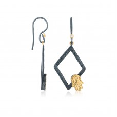 0,05 Carat Diamond / Code: KPi24 07 / 24 Carat Gold Silver and Diamond Combination 100% Handcrafted Special Design Earring