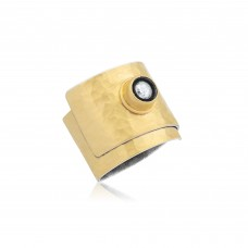 0.10 Carat Diamond / Code: YZ0000068 / 24 Carat Gold Diamond and Silver Combination 100% Handcrafted Special Design Ring