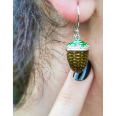 Code : TEA BASKET EARRINGS / 925 Sterling Silver and Enamel Painting 100% handcrafted. Black Sea Special Design Necklace