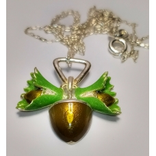 Code : HAZELNUT NECKLACE / 925 Sterling Silver and Enamel Painting 100% handcrafted. Black Sea Special Design Necklace