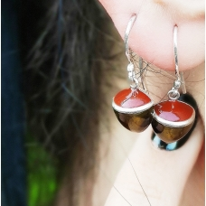 Code : PLAIN HAZELNUT EARRINGS 1 / 925 Sterling Silver and Enamel Painting 100% handcrafted. Black Sea Special Design Necklace