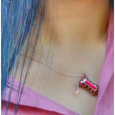 Code : JUMPSUIT NECKLACE / 925 Sterling Silver and Enamel Painting 100% handcrafted. Black Sea Special Design Necklace
