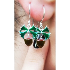 Code : HAZELNUT LEAF EARRINGS / 925 Sterling Silver and Enamel Painting 100% handcrafted. Black Sea Special Design Necklace